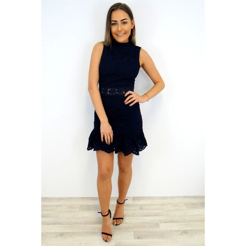 8d004d169d Keara Lace Peplum Dress - Navy - Damson Boutique