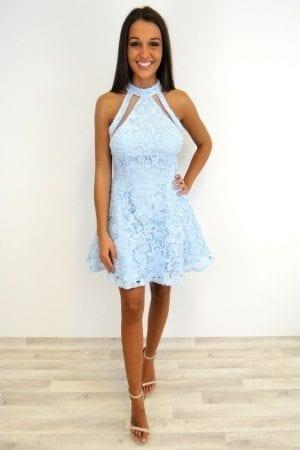 Katrina Lace Mesh Dress - Baby Blue