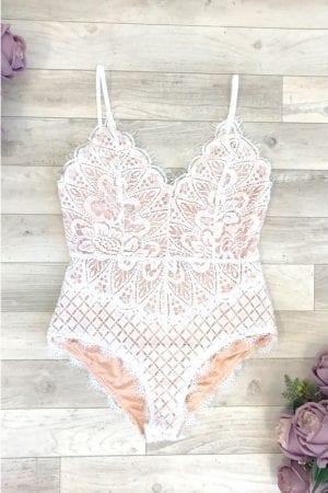 Eyelash Lace Bodysuit - White
