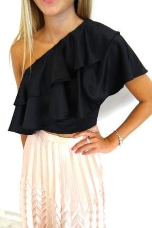 Alexis Ruffle Top - Black