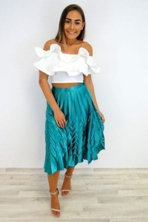 Gina Pleat Skirt - Green