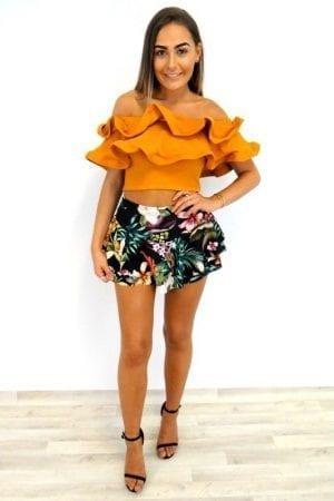 Lottie Frill Bardot Top - Mustard