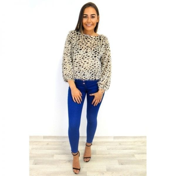 Amber Button Fly Jeans - Blue