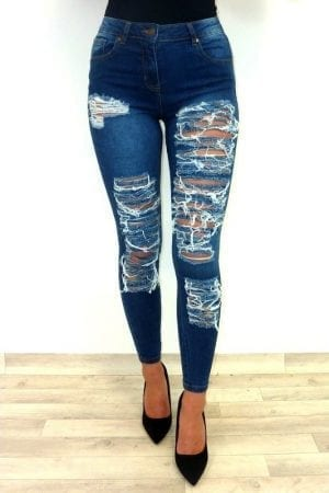 Pepper Super Rip Jeans - Blue