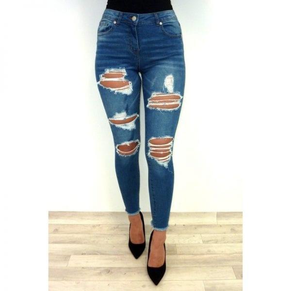 Alexa Distress Jeans - Blue