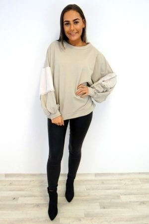 Melina Fur Sleeve Sweater - Stone