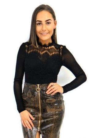 Selina Mesh Lace Body - Black