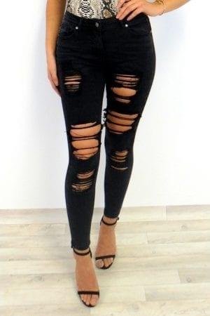 Yasmin Distress Jeans - Black