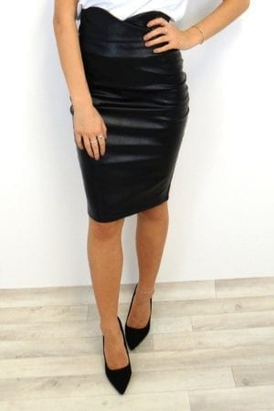 Jolie PU Midi Skirt - Black