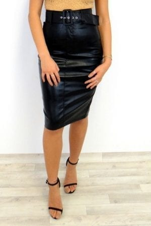 Giselle Belted PU Skirt - Black