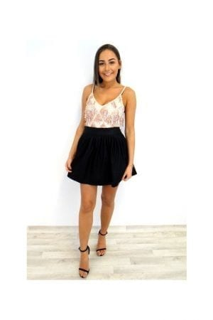 Sammy PU Skater Skirt - Black