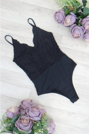Venus Lace Bodysuit - Black