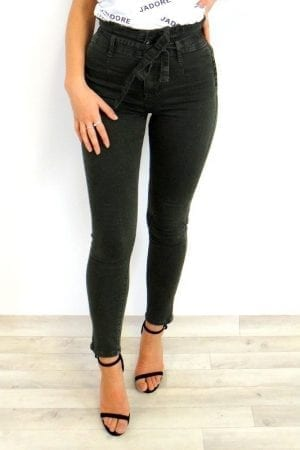 Cara Paperbag Jeans - Khaki
