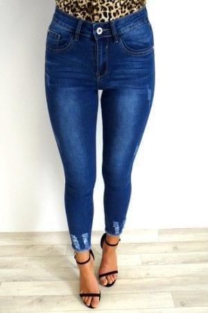 Penny Frayed Mid Waist Jeans - Dark