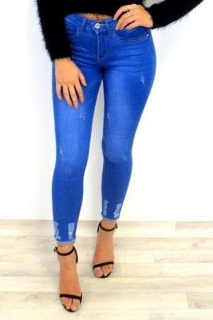 Penny Frayed Mid Waist Jeans - Blue