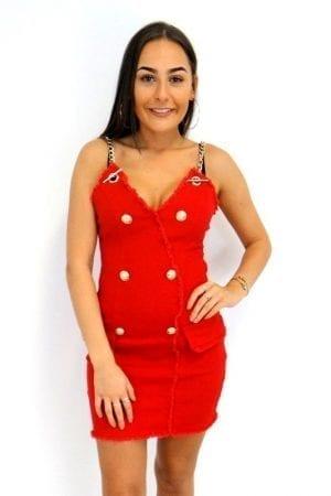 Louisa Denim Dress - Red