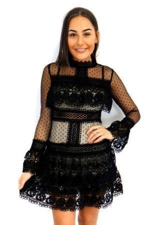 Suri Mesh Lace Dress - Black
