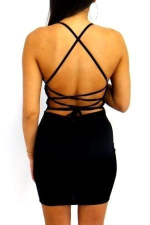Kayla Lace Up Dress - Black