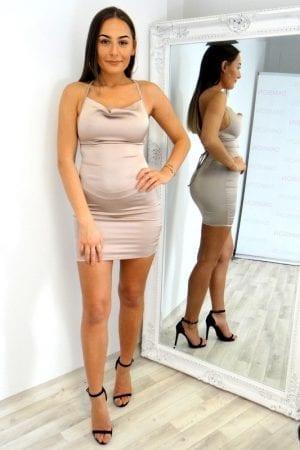 Kayla Lace Up Dress - Nude