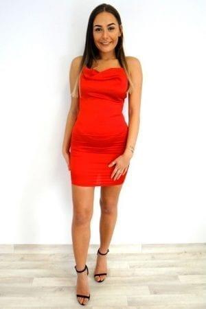 Kayla Lace Up Dress - Red