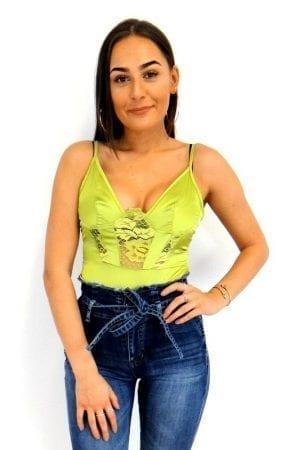 Nikki Lace Bodysuit - Lime
