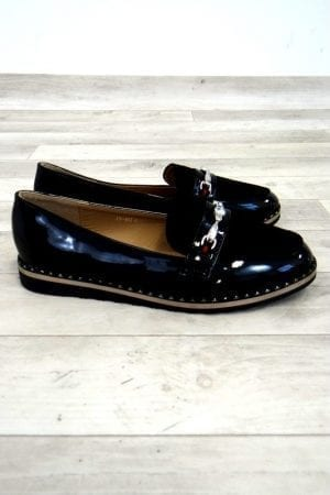Faye Patent Loafers - Black