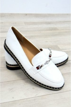 Faye Patent Loafers - White