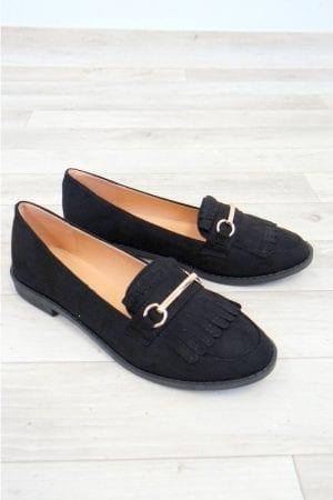 Mandie Fringe Loafer - Black