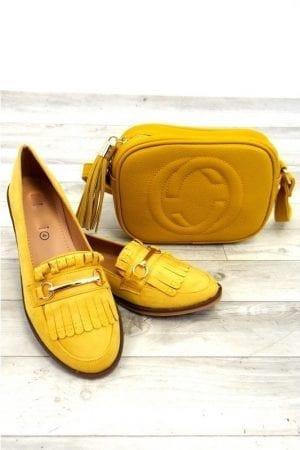 Mandie Fringe Loafer - Mustard