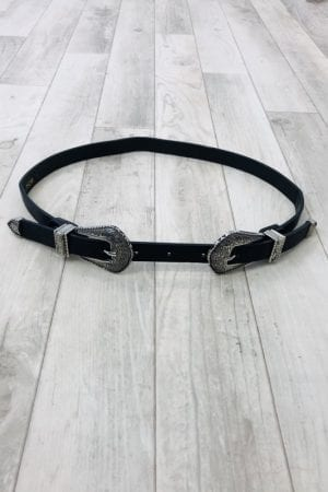 Robyn Double Buckle Belt - Black