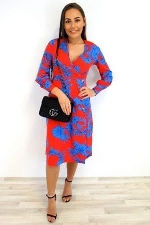 Sarina Floral Midi Dress - Red