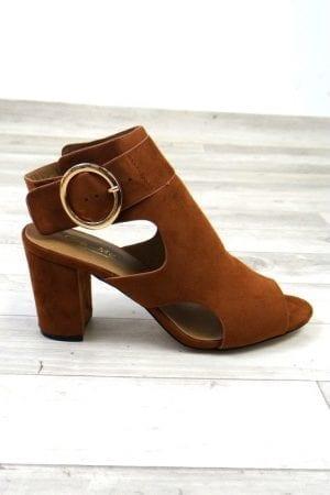 Zena Buckle Heels - Tan