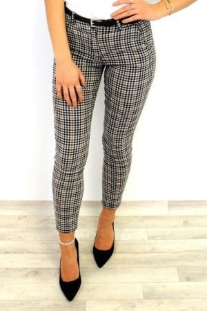 Ginny Check Trousers - Taupe