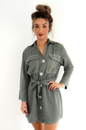Anisha Shirt Dress - Khaki